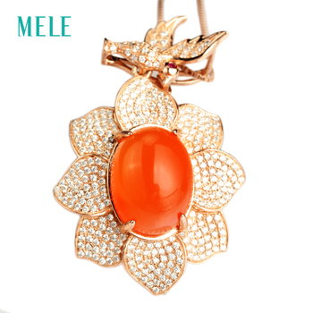 MELE Natural red agate silver pendant, big oval 12mm*16mm,  deep red color ,free bird and beautiful flower for ladies