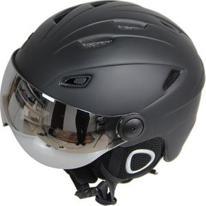 Image 2 - Ski Helm Bril Vizier Mannen Vrouwen Snowboard Helm Moto Sneeuwscooter Skateboard Helm Masker Winter Warm Fleece Capacete