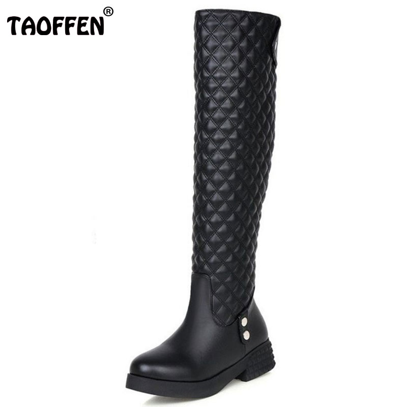 TAOFFNE Women Flat Over Knee Boots Ladies Riding Fashion Long Snow Boot Warm Winter Brand Botas Female Footwear Shoes Size 34-40