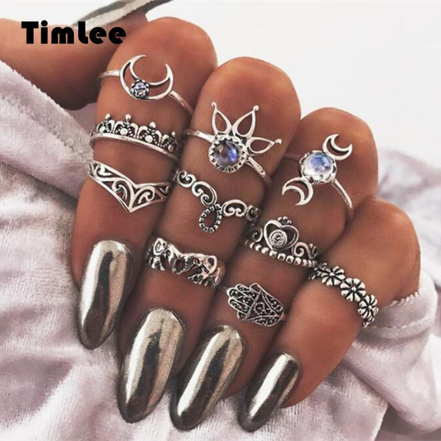 Timlee R025 New Retro Carved Hollow Elephant Hand  Moon Lotus Finger Rings Set ,10pcs/set Fashion Jewelry Wholesale HY