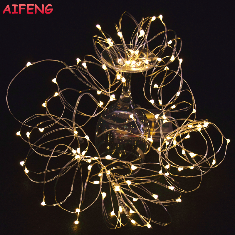 AIFENG Fairy Lights AA Batteridrevet 2M 20 3M 30 5M 50 10M 100Leds Silver Led Kobber Wire String Light Dekorative Fairy Lights