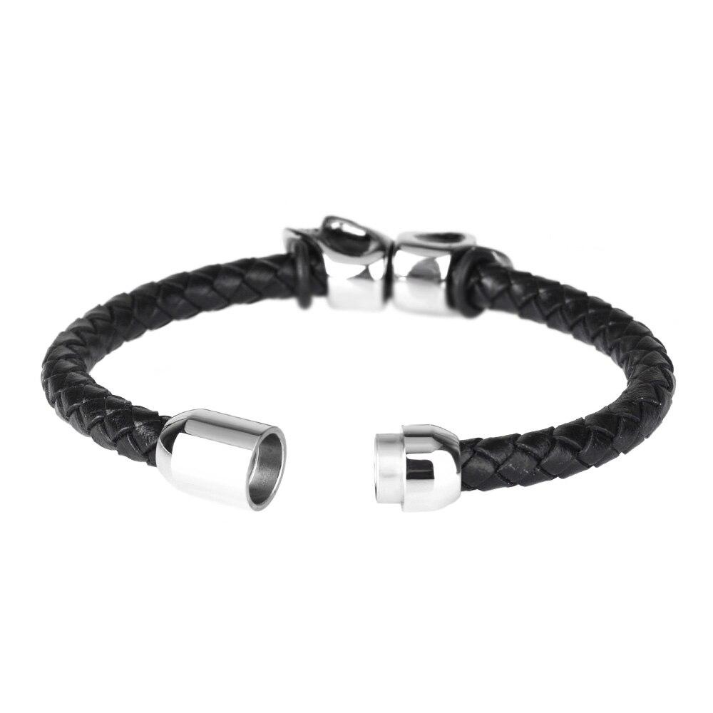Kirykle mode Bracelet en cuir noir pour hommes bijoux Punk crâne en acier inoxydable perles Bracelet magnétique boucle breloque bijoux 4