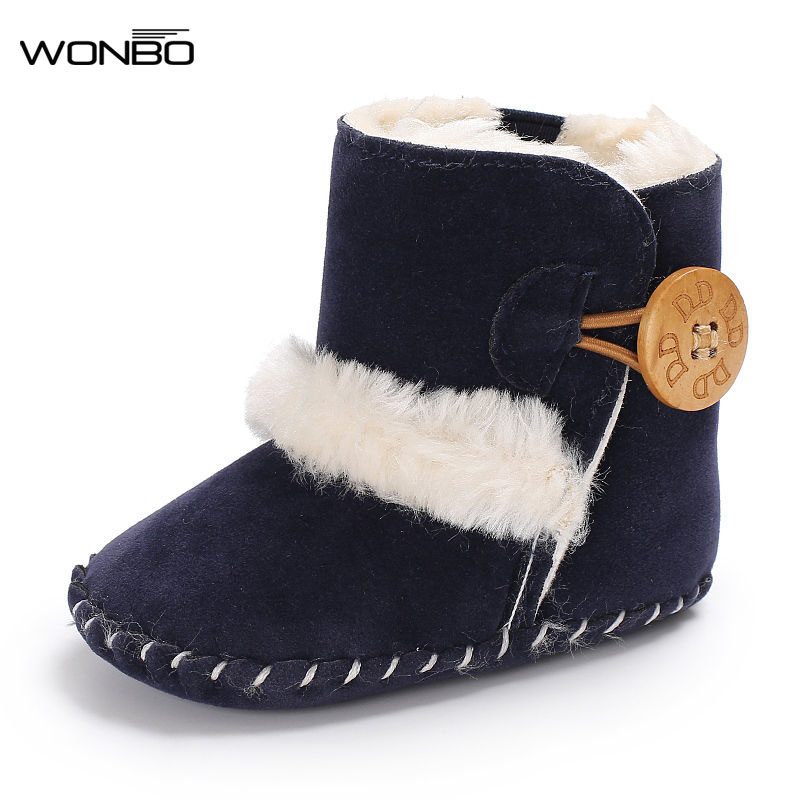 Fashion Soft Rubber Bottom Baby Boot With Fur Keep Warm Shoes Solid Pu Leather With Fur Newborn Baby Shoes Non-slip For 0-18M