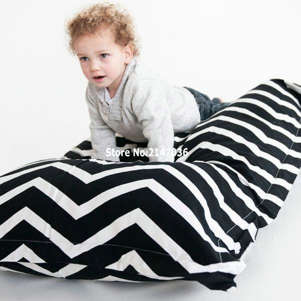 Chevron bean bag chair black and white zigzag mattress