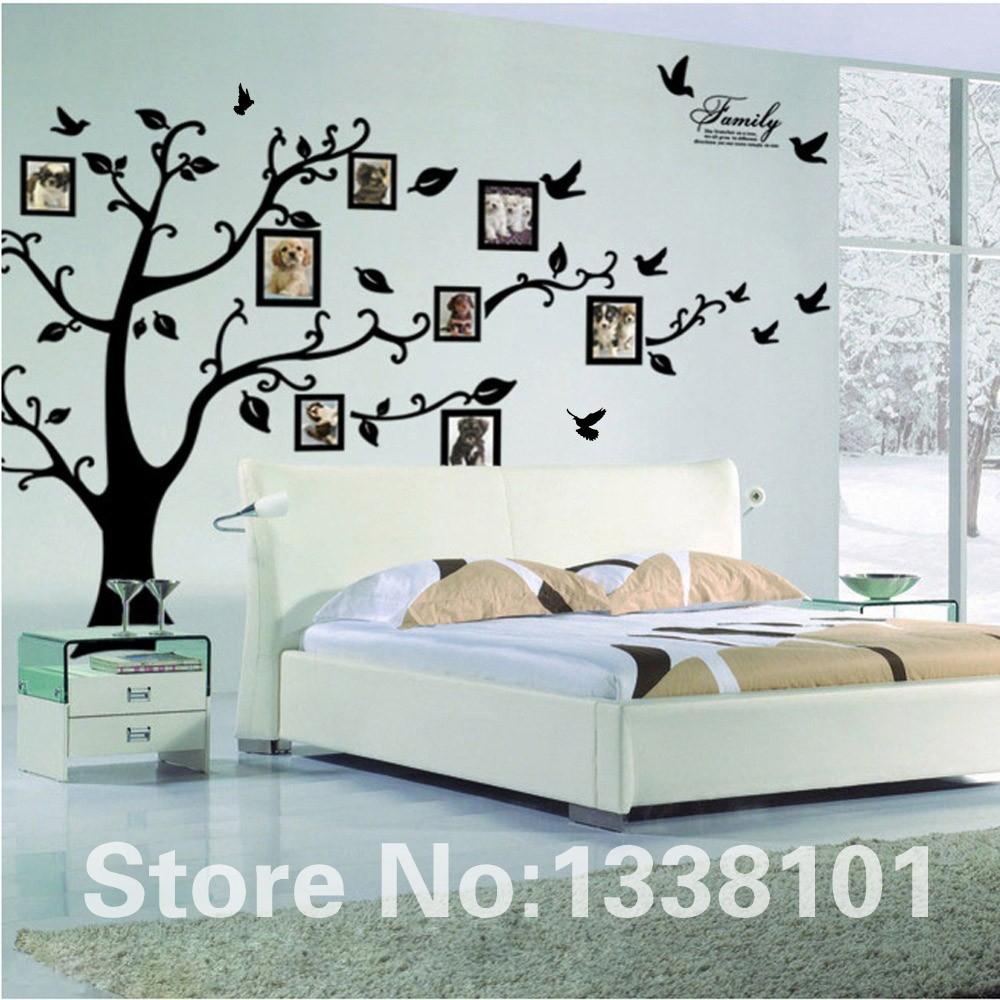 HTB1KxH2KXXXXXcdXpXXq6xXFXXX8 - Free Shipping:Large 200*250Cm/79*99in Black 3D DIY Photo Tree PVC Wall Decals/Adhesive Family Wall Stickers Mural Art Home Decor