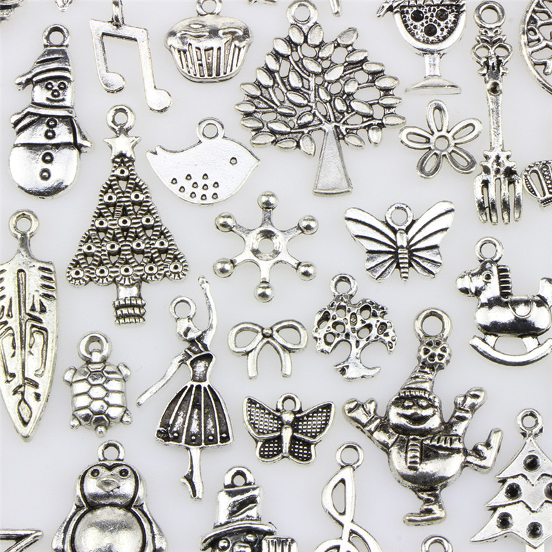 Charm Pendants Jewelry 100pcs/lot Mixed Christmas Antique Silver European Bracelets Making Findings DIY Charms Handmade spoon fork knife slice tableware shape diy alloy charm pendant crown antique silver vintage jewelry making accessories findings
