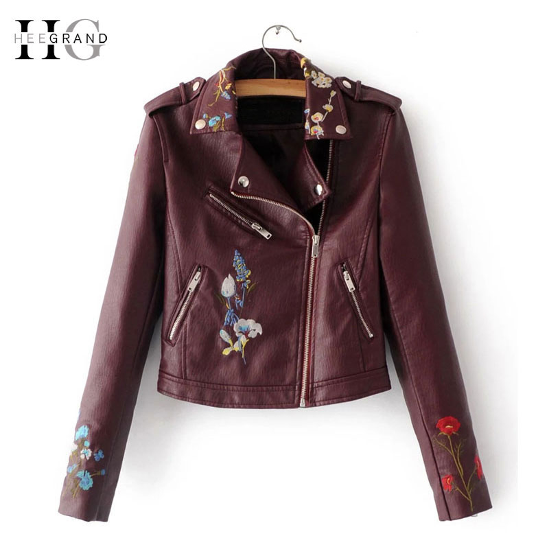 HEEGRAND Embroidery Faux   Leather   Coat Motorcycle Zipper Wine Red PU jackets Women Windbreak Punk Outerwears Winter Jacket WWP207