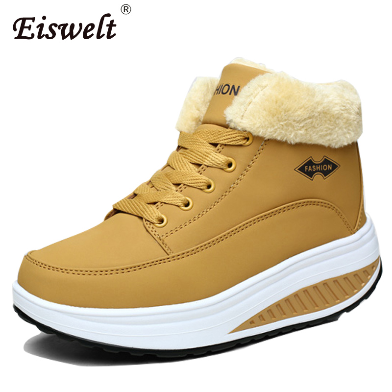 EISWELT Footwear Winter Women's Boots Platform Ankle Boots Wedge Plush Snow Boots for Women Turned-over Fur Fashion Shoes#ZQS086 ribetrini 2017 fashion cow suede turned over edge ankle snow boots sewing warm fur platform low flat women shoes size 34 39