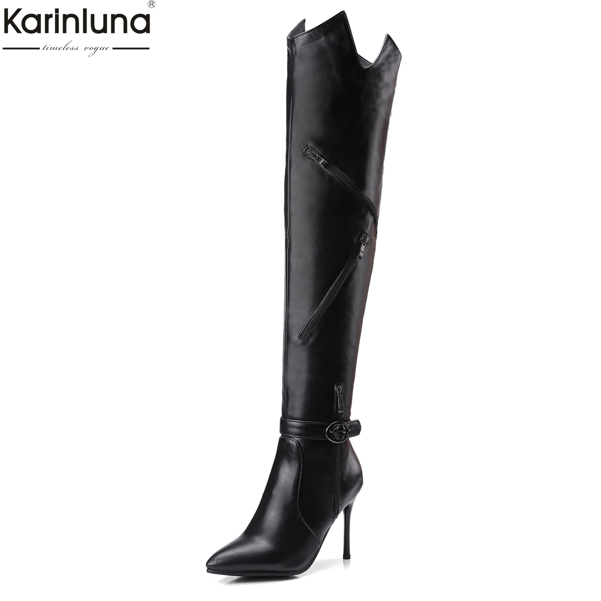 KarinLuna Brand Design Plus Size 32-43 Pointed Toe Women Shoes woman Sexy Thin High Heels Over The Knee Boots rubber sole shoes customizable fashion women knee high boots sexy pointed toe thin heels leopard boots shoes woman plus size 4 15