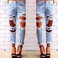 Agujero novio ripped jeans mujeres Refrescan los pantalones de mezclilla vaqueros rectos de la vendimia para la muchacha pantalones casuales Mediados de cintura femenina