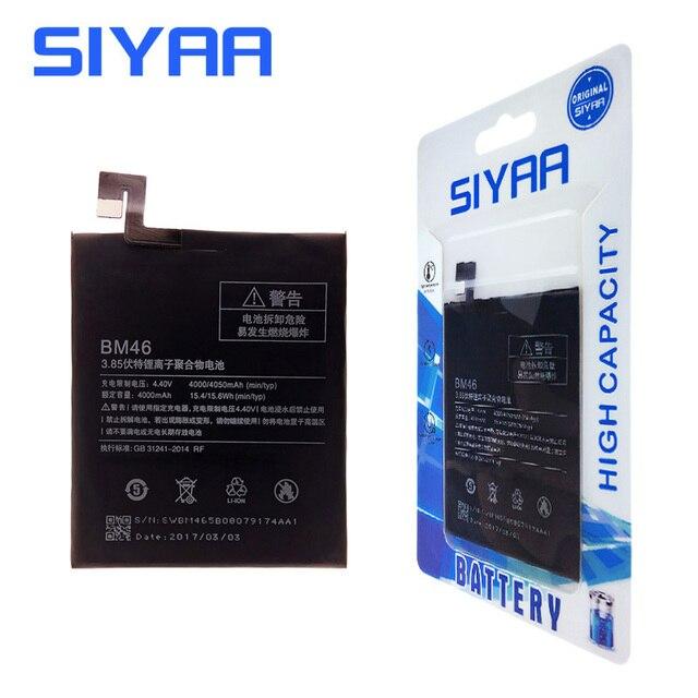 SIYAA Original For Xiaomi RedMi Note 3 Battery BM46 4000mAh For Xiaomi Hongmi Redmi Note3 Note 3 Replacement Batteria