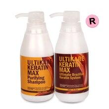300ml Purifying Shampoo to Deeply Nourish Hair and 300ml 12% Keratin Treatment Hair Straight Refused Damage Repair Free Shipping цена 2017