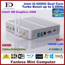 Гарантия 3 года 4 ГБ Оперативная память + 128 ГБ SSD Mini PC, неттоп компьютер Intel i5-4200U Процессор, 3280*2000, Wi-Fi, 4 * USB 3.0, HDMI, 4 К, Blue-Ray
