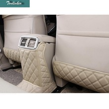 Tonlinker 3 pcs car styling pu leather seat back kick pad decoration sticker Cover Case Stickers