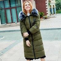 2017 ירוק צבא השחור ורוד קרם קרמל ארוך מעיילי מעילי המשאף מעיל חורף נשים כותנה סתיו בגדי Invierno Mujer