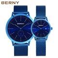 Берни топ известный бренд  Новое поступление  простые часы для влюбленных  сетчатые часы из нержавеющей стали для пар  женские мужские часы ...