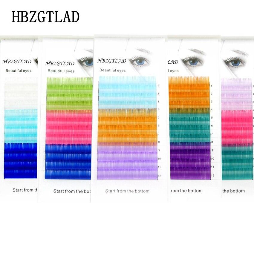 HBZGTLAD C/D Curl 0.07/0.1mm 8-15mm False Lashes Blue+green+Royal Blue Eyelash Individual Colored Lashes Faux Eyelash Extensions