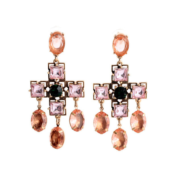 Pink Crystalc Cross Dangling Earrings Online Shopping Elagant ...