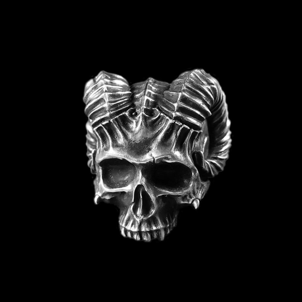 Son of Satan skull ring 925 Sterling silver Horns of sheep Devil No jaw skull rings