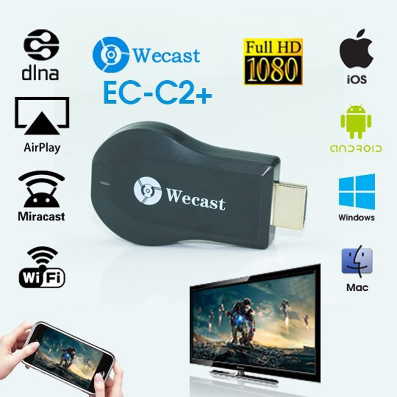 Miracast Dongle Wifi Streaming to TV Wireless Display as Chromecast hdmi 1080p Media Airplay Streamer Better Than Chromecast