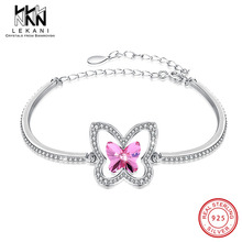 Hollow Butterfly Bracelet Crystal From Swarovski Bangle For Women Shining Pink Rhinestone 925 Sterling Silver Wedding Jewelry