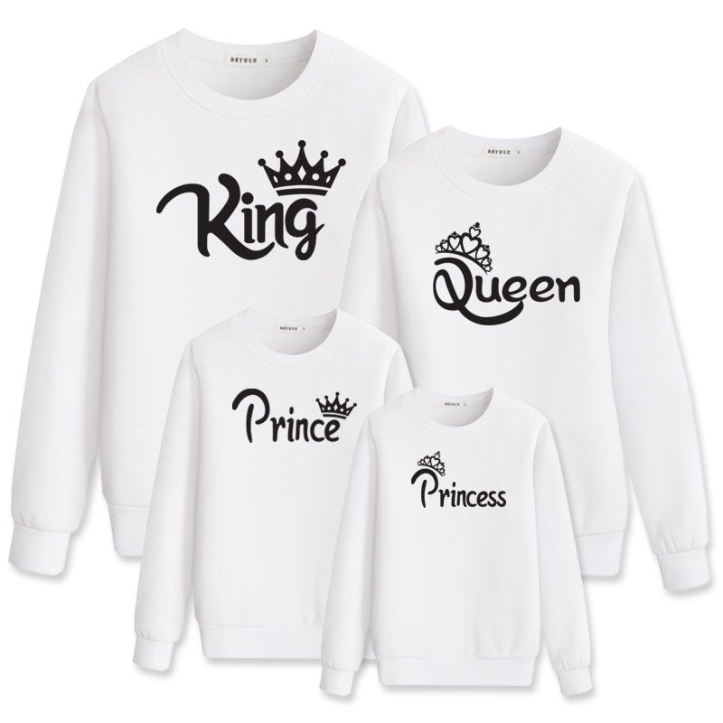 King Queen Prince Princess Outfits Clothes Dad Clothing For Family Matching Hoody Mother Daughter Look Mom Dress And Me Baby Set