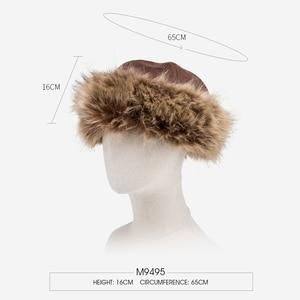 Image 3 - BISON DENIM  2 pcs Faux Fur Hat Winter Warm Russian Cap Earflap Snow Caps hat Ushanka Bomber Hats with Fur Scarf M9495