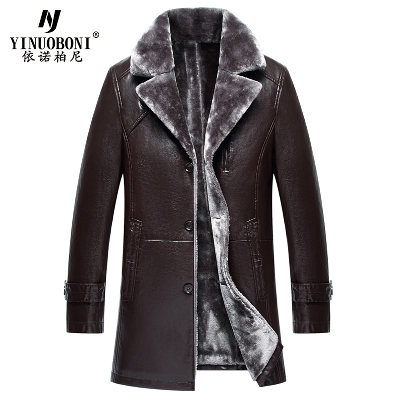 Big and Tall Mens Fur Lined Leather Jackets For Russian Winter Thick Warm Mens Fur Leather Jackets Overcoats Brand Design Y8367