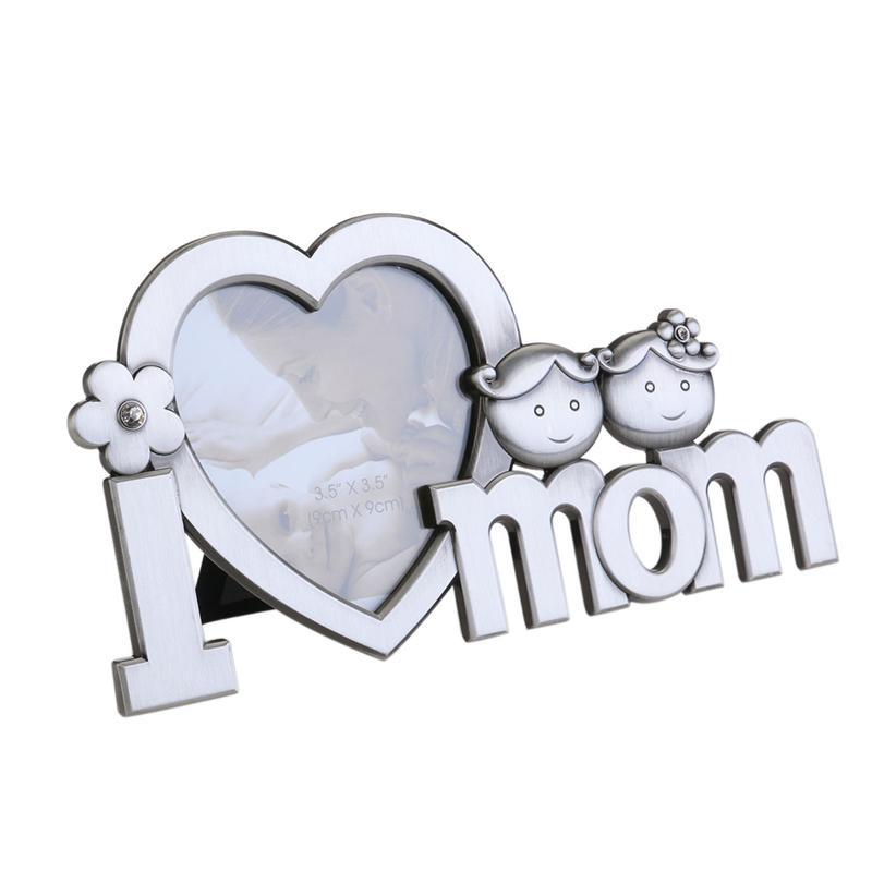 BESTOYARD I LOVE YOU MOM Picture Frame Mothers Day Heart Shape Metal ...