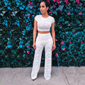 2016 Summer Women Set Floral Short tops suits two piece sets midriff top and long pants White flowers leaves pattern lace suit