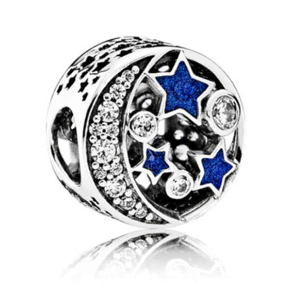 Luxurious Silver Color Hollow Stars Crystal Charms Beads Fit Pandora Bracelets & Bangles for Women High Quality DIY Jewelry