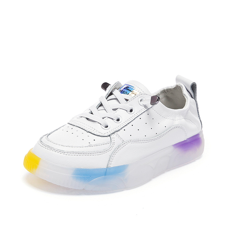 Outdoor Sneakers Women Genuine Leather Casual Flat Walking Shoes New Fashion Lightweight Breathable white Shoes JINBEIL in Walking Shoes from Sports Entertainment