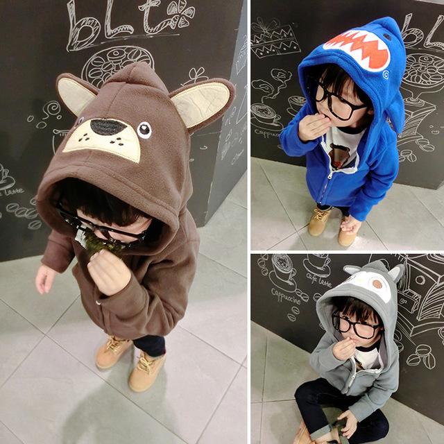 Cabeça de tubarão hoodies outerwear da menina do menino do bebê urso quente owl camisolas dos miúdos dos desenhos animados minnie traje criança roupas casaco cardigan