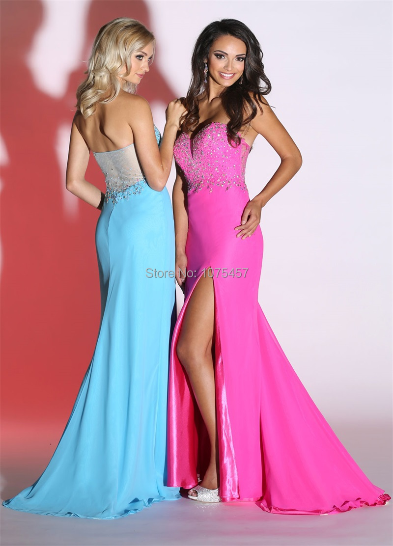 Latest Design Hot Pink Long Prom Dresses with Slit 2015 Sweetheart ...