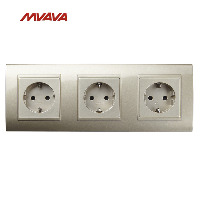 MVAVA 16A Triple Wall Socket AC 110V 250V Electrical Outlet Gold PC ...
