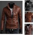 Бесплатная доставка 2016 новый мужской кожаный пиджак Тонкий кожаная куртка PU 3 цвета 4 размер горячей продажи, M-XXL