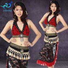 Saman Belly Dance Costume Suit Set Lace Bollywood Karnival Performance Outfits 2pcs Set Bra Top & Hip Scarf Dancewear Skirt