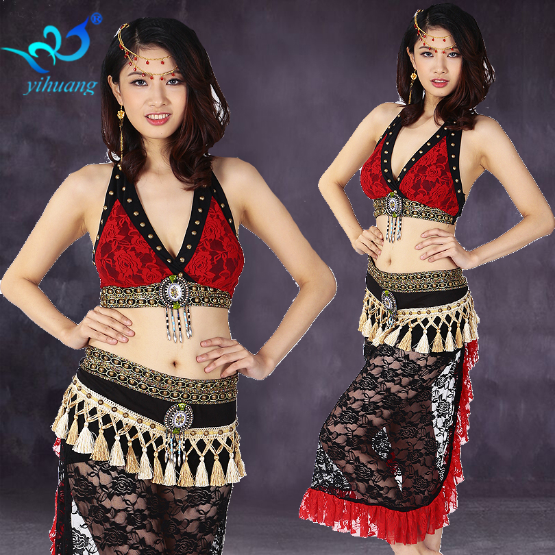 Tribal Belly Dance Costumes Set Lace Halloween Party Egyptian Performance Skirt Gypsy Bollywood Outfits Bra & Hip Scarf 2pcs