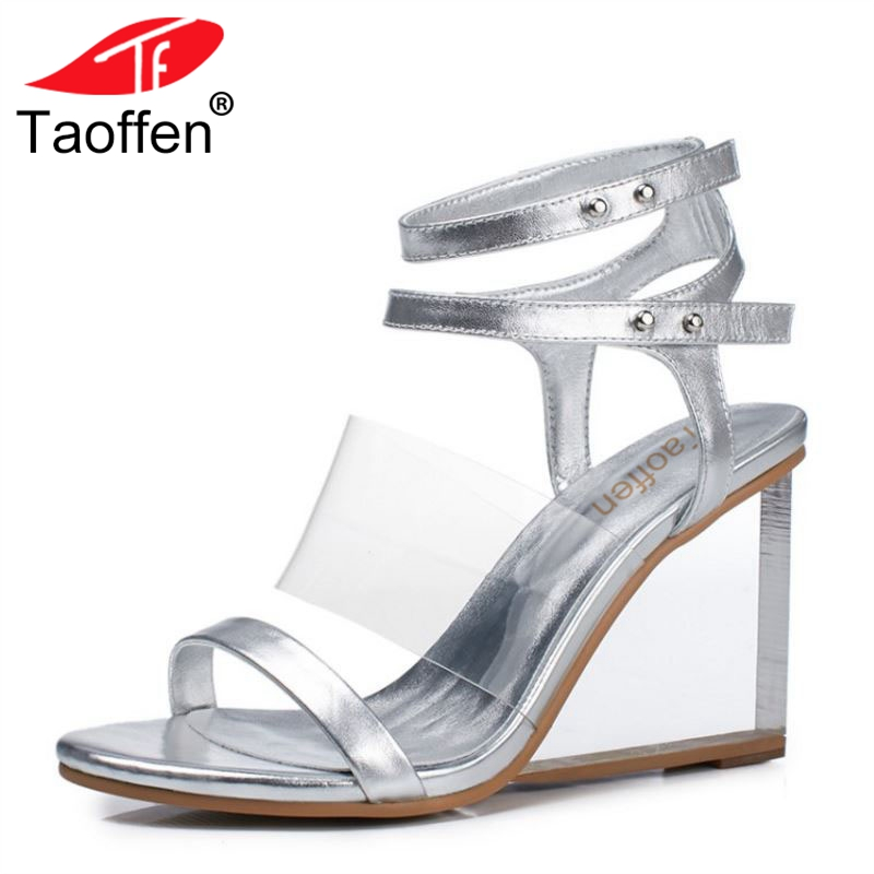 TAOFFEN Sexy Women Real Genuine Leather High Wedges Sandals Open Toe Metal Color Wedges Sandals Summer Woman Shoe Size 33-41 aiyuqi big size women shoe 41 42 43 2018 new women s sandals genuine leather casual comfort wedges open toe roman sandals female