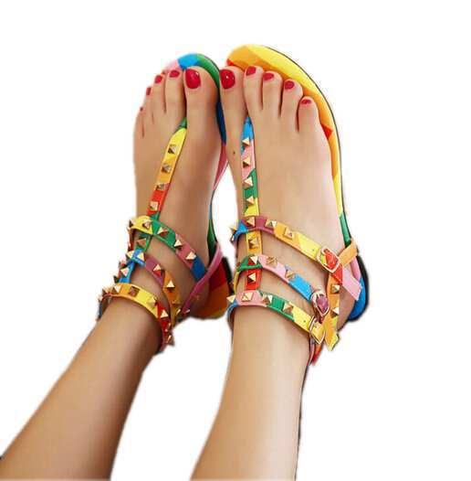d9a26c83a08619 2015 Women summer gladiator flat sandal rainbow shoes girls ankle strap  rivet flip flop for woman roma flat sandals-in Women s Sandals from Shoes on  ...