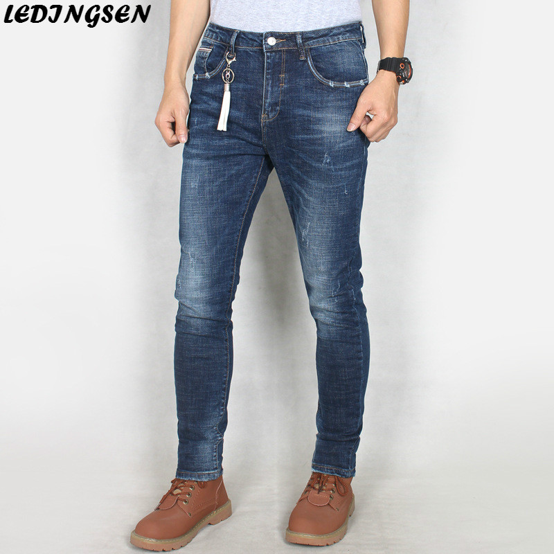 LEDINGSEN Spring Skinny Blue Jeans Classic Ripped Slim Fit Denim Pants Casual Straight Long Jean Trousers Zipper Plus Size 36