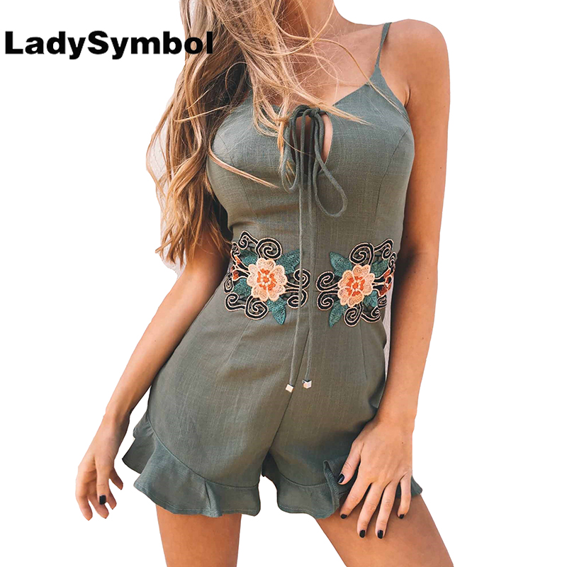LadySymbol Floral Embroidered Ruffle Green Women Jumpsuits Romper Backless Orange Summer 2017 Cute Overalls Party Beach Playsuit