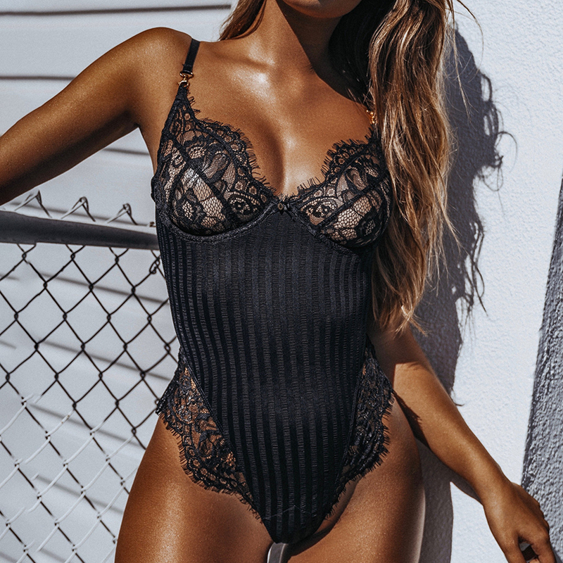 2019 New Sexy Halter lace bodysuit Women Skinny 2019 hollow out black   jumpsuit   romper body feminino overalls mesh playsuit