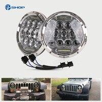 PAIR Super Bright 75w H L Beam H4 H13 LED Headlight With DRL 7 Inch Headlamp