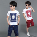 Children Boys Clothing Set Cotton Summer Navy Blue Red Pullover Boat Print T Shirt Shorts Boy Sports Suit 4-12years Tracksuit