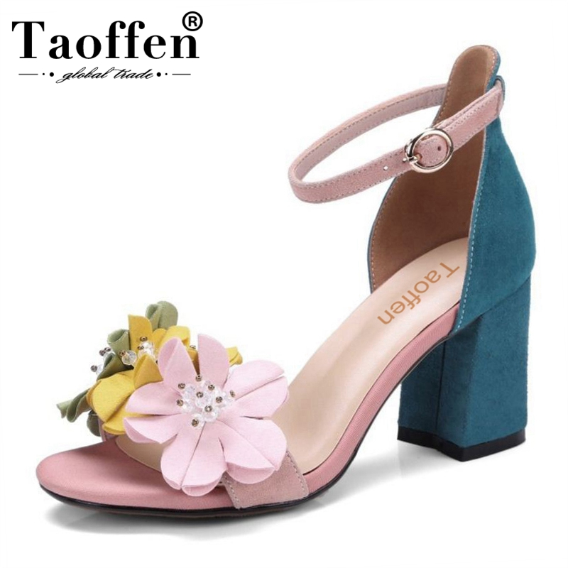 TAOFFEN Women Real Leather High Heel Sandals Flower Ankle Strap Sandals Summer Daily Club Shoes Women
