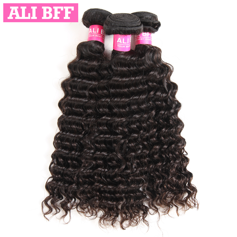 ALI BFF Peruvian Deep Wave Hair Bundles 100% Human Hair Bundles Remy Hair Extentions 3 PC Natural Color Free Shipping