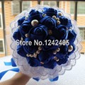 Свадебный букет новое поступление премиум продукт ручной работы кружева сапфир синий мозаика перл и алмаз романтический букет невесты SH30