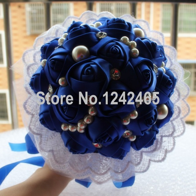 New Arrival Premium Product Handmade Lace Sapphire Blue Wedding Bouquet Mosaic Pearl And Diamond Romantic Bridal Bouquet SH30
