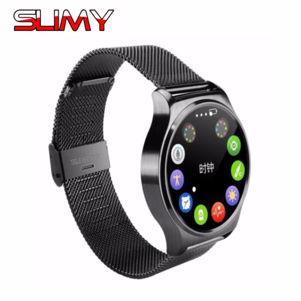 Slimy Bluetooth Smart Watch GW01 Full Screen Support Heart Rate Monitor Smartwatch Phone Clock Hours for IOS Android Phone smart sm407 01 c35